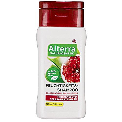Alterra Feuchtigkeits-Shampoo 200 ml ÖKO-TEST SEHR GUT für trockenes & strapaziertes Haar, Reichhaltigkeit & Schwung, mit Bio-Granatapfel, Bio-Akazienblüten & Bio-Aloe Vera, ohne Silikone, Naturkosmetik, vegan