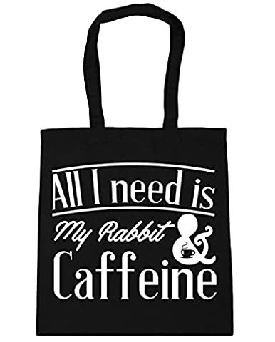 HippoWarehouse All I Need Is My Rabbit & Caffeine Tote Shopping Gym Beach Bag 42cm x38cm, 10 litres
