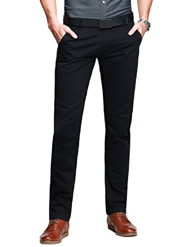 Match Mens Slim-Tapered Flat-Front Casual Trousers(Black,W32 x Regular)