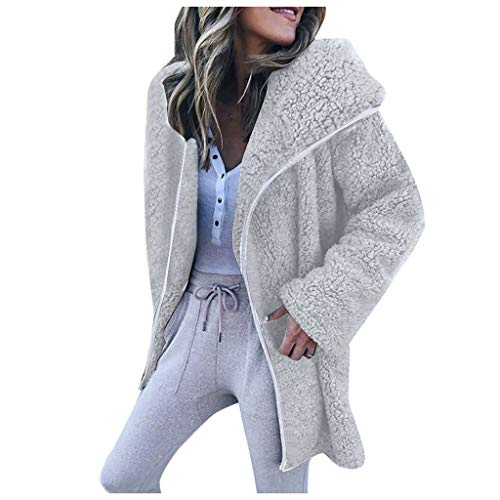 BIKETAFUWY Damen Mantel Plüsch Winter Warm Plüschjacke Winterjacke Strickjacke Outwear Cardigan Langarm Teddy-Fleece Coat Kapuzenjacke Trench Coat mit Kapuze -