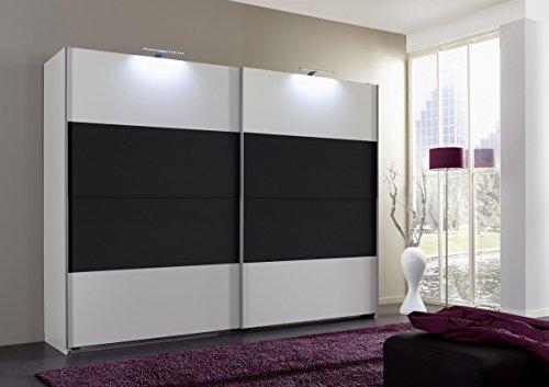 Dreams4Home Schwebetürenschrank 'Cult', Schlafzimmer, Schrank, weiß, anthrazit, schwarz, Kleiderschrank