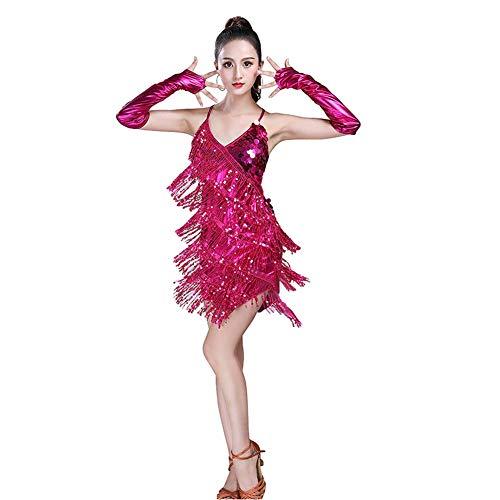 aad1cc76b Daytwork Latino Salón de Baile Danza Traje Vestidos Mujer - Mujeres  Lentejuelas Borla Disfraces Falda Flecos