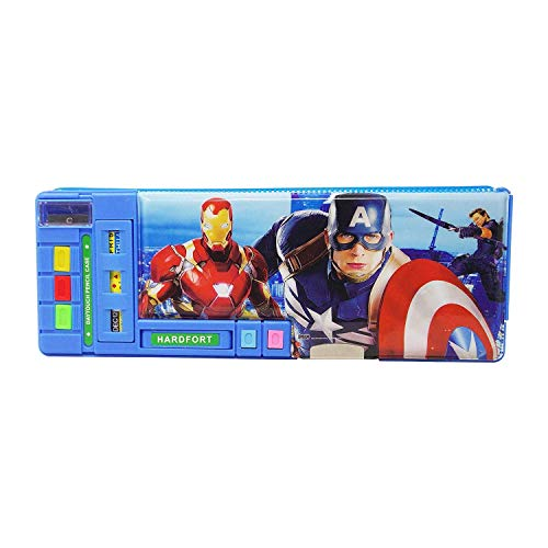 Parteet® Cratoon Printed Dual Side Magnetic Pencil Box for Kids(Spider Mann)