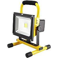 MCTECH Foco LED Recargable 20W Blanco Frío Amarillo Faros de trabajo Iluminacion Exterior del Jardín al Aire Libre, Patio, Terraza Portátil Foco Protector