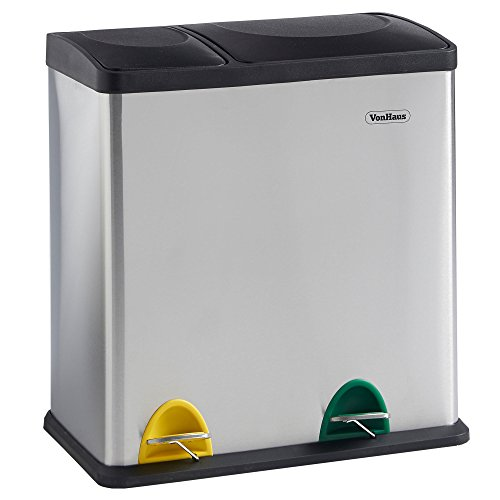 VonHaus Recycling Bin with Lids for Kitchens | 36 Litre Capacity | 2 Colour Coded Compartments