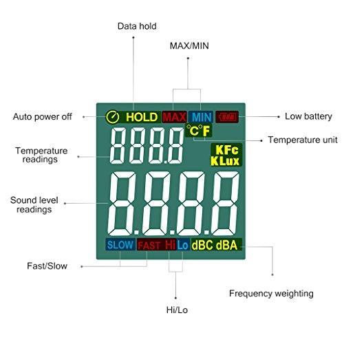 URCERI Schallpegelmessgerät - Digital Sound Level Meter Lärm-/ db-Messgerät mit Messbereich 35dB - 135dB, Max / Min / Haltedaten, Temperaturmesser und LCD-Display, inkl. Batterie - 5