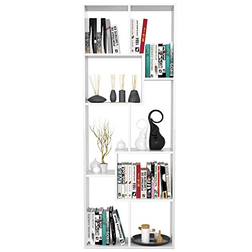 Homfa Estantería Librería Estantería de Pared Estantería para Libros Estantería Almacenaje con 8 Compartimentos Blanco 60X24X160cm