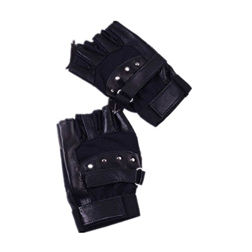 Tonsee® Men Soft Sheep Leather Driving Motorcycle Biker Fingerless Warm Gloves