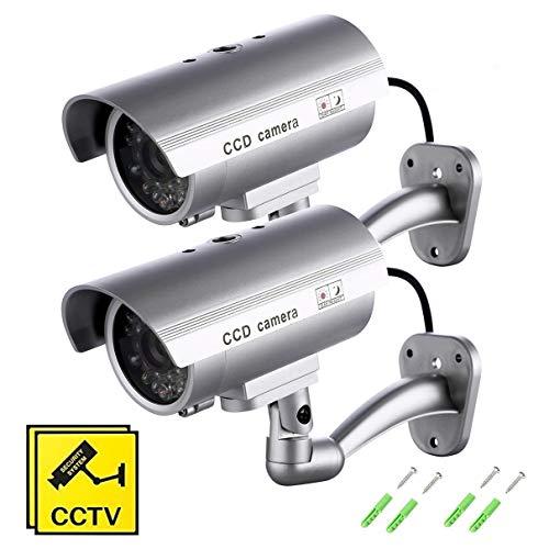 SeeKool Telecamera Finta Set di 2 Videocamere di Sorveglianza Dummy Camera con LED lampeggiante IR Simulazione Telecamera Realistico finte CCTV Impermeabile d\'Imitazione per interno, esterno