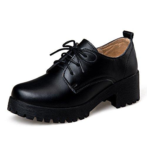 des Forme Femmes Place Télévision Black Talon Plate LEIT Femmes à Chaussures La de Ronds Lacets Oxford YFF de Femme la TqEUR8xtw