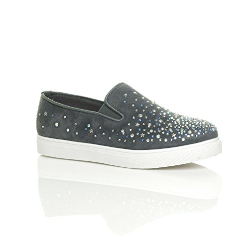 Womens ladies flat diamante jewelled gem plimsoles trainers sneakers size 7 40