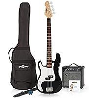LA Left Handed Bass Guitar + 15W Amp Pack, Black
