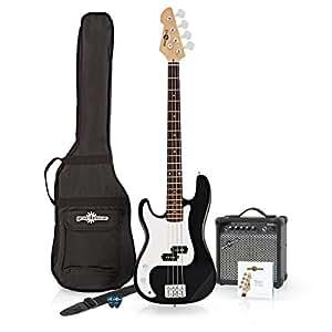 Pack avec Guitare Basse LA pour Gauchers et Ampli 15W Black