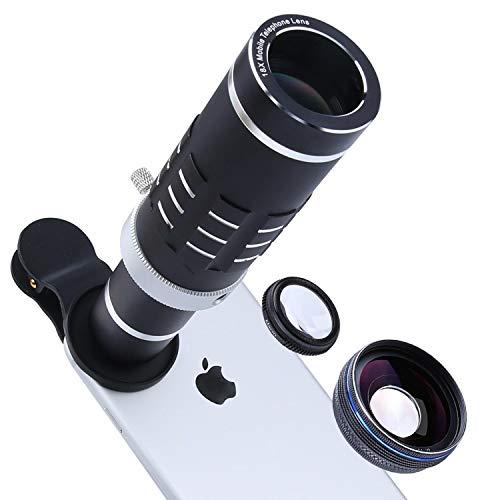 Handy Objektiv 18x Teleobjektiv Super Weitwinkel-Objektiv Makro-Objektiv mit Mini Flexible Stativ und Universal Clip für iPhone Samsung die Meisten Smartphone 3in 1Kamera-Kit Universal Tripod Kit
