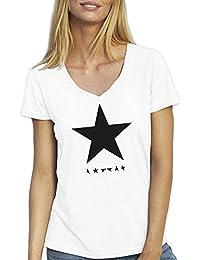 Friendly Bees Black Star David Bowie T-Shirt Camiseta Cuello V Para la Mujer