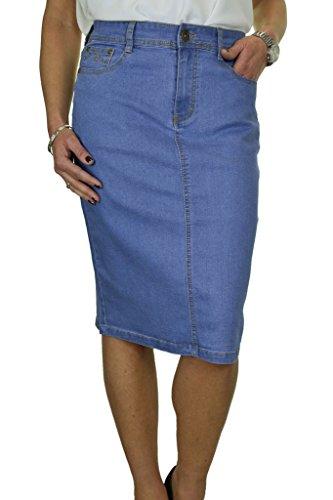 ICE Stretch Jeans Rock mit Pailletten Detail, Hellblau 38-50 (40) -