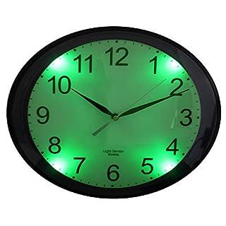 FISHTEC ® Horloge Ovale Luminescente - Détecteur d'obscurité - Silencieuse