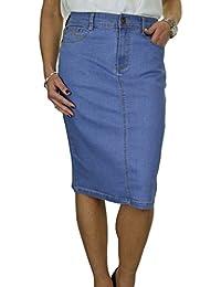 ICE Falda Jeans Stretch con Detalles de Lentejuelas, Azul Pálido