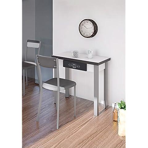 Mesa de cocina con cajon extensible libro blanca. 80x80 cm