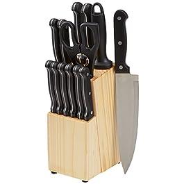 AmazonBasics – Set di 14 coltelli con ceppo