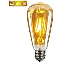 Vintage Edison LED Glühbirne, Elfeland E27 Antike LED Filament Lampe Ersetzt 60W (6W, 2200K, Dimmbar, Beliebtstes Modell ST64) Ideal für Nostalgie und Retro Beleuchtung
