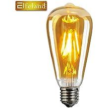 Vintage Edison LED Bombilla, Elfeland® E27 Antique LED Filament Lamp Reemplaza a 60W (6W, 2200K, Regulable, el Modelo más Popular ST64) Ideal para la Nostalgia y la Iluminación Retro