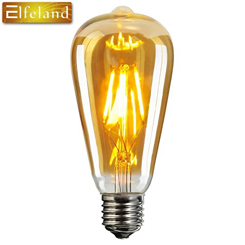 Vintage Edison LED Bombilla, Elfeland® E27 Antique LED Filament Lamp Reemplaza a 60W (6W, 2200K, Regulable, el Modelo más Popular ST64) Ideal para la Nostalgia y la Iluminación Retro