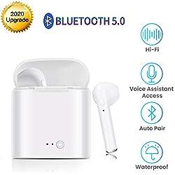 Écouteurs Bluetooth V5.0 Casque Sans Fil Intra-Auriculaires IPX5 Étanche Stéréo Sport Casque HD Mic intégré et Étui de Chargement Écouteurs Pour IPhone X 8 8p 7 7p 6S Samsung iOS Smartphones Android