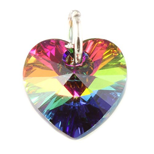 Sterling Argento Vitrail Ciondolo a forma di cuore in cristallo con elementi Swarovski