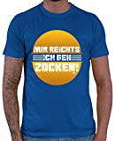 HARIZ  Herren T-Shirt Mir Reichts Ich GEH Zocken Gamer Gaming Pixel Zocken PC Level Inkl. Geschenk Karte Royal Blau XS