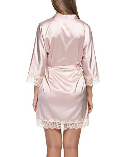 HOTOUCH Damen Satin Kimono Nachthemd Nachtwäsche Pyjama Set Morgenmante Bademäntel Schlafanzüge Mit Tiefer V-Ausschnitt Blumenspitze Typ3-Champagner