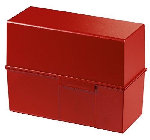 HAN Karteikartenbox DIN A5 975-17 in Rot für 500 Karteikarten im Querformat/Aufbewahrungsbox aus Plastik mit Deckel & Stahlscharnier/für Schule & Büro