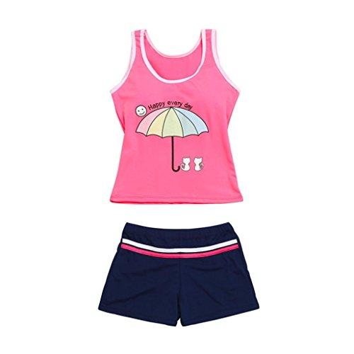 Karikatur Katze Regenschirm Letter Print Ärmellose Zweiteiler Bikini Schwimmanzug (Rosa, 6-8 Jahre) (Fotoausrüstung Regenschirm)