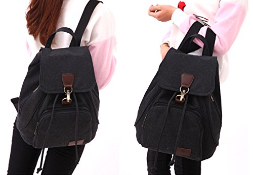 Fashion Casual Vintage Rucksack, tragbar Frauen Rucksäcke Schulter Taschen Handtaschen Student Schultasche Schultasche Buch Tasche Kordelzug Rucksack o.ä mit verstellbarem Schulterriemen Schwarz