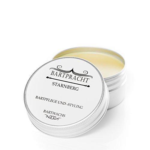 Bartpracht Bartwachs Starnberg (elegant-herb), Wachs für das Bartstyling, extra starker Halt, Naturprodukt (100% natürlich), Made in Germany, 1 Stück
