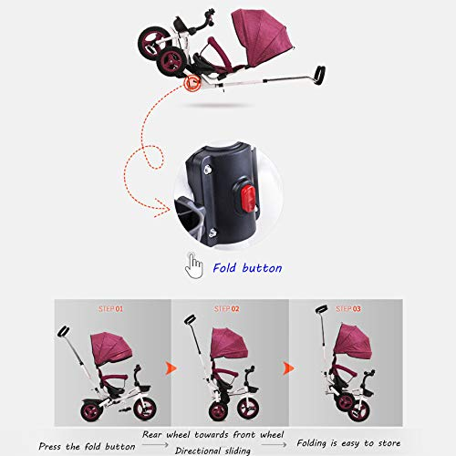 QXMEI 4 In 1 Childrens Folding Tricycle 6 Months To 5 Years Rear Wheel With Brake Folding Trike 360° Swivelling Saddle Folding Sun Canopy Childrens Tricycles Maximum Weight 25 Kg,Grey