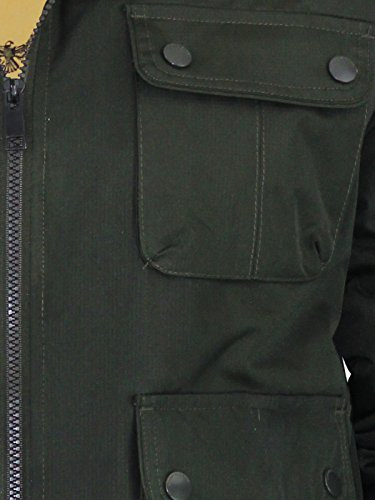 Brave Soul Hommes Veste Matelassée Bord Fausse Fourrure À Capuche Bomber Neuf Fermeture Éclair Manteau Hiver Knight - Olive