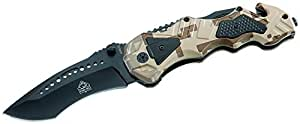 Puma TEC Einhand-Rettungsmesser Glasbrecher Länge Geöffnet: 21.5cm Messer, Grau, M