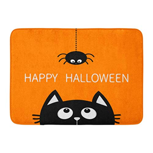 Fußmatten Badteppiche Outdoor / Indoor Fußmatte Happy Halloween Schwarze Katze Gesicht Kopf Silhouette Nach oben schauen, um an der Strichlinie hängen Spinne Insekt Niedlich Badezimmer Dekor Teppich B (Gesichter Schwarze Halloween Katze)