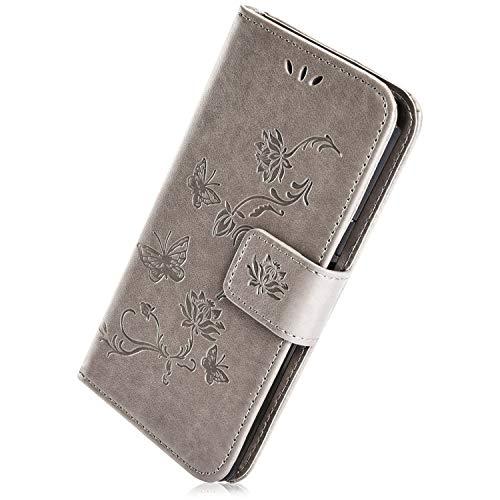 Herbests Kompatibel mit Samsung Galaxy S10 Plus Hülle Tasche Leder Flip Case Schmetterling Blumen Muster Retro Lederhülle Schutzhülle Handyhülle Wallet Cover Bookstyle Handytasche Ständer,Grau