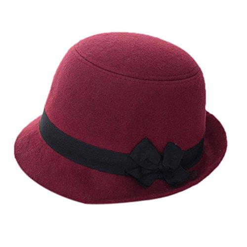 Outflower Damen Mädchen Filz Hut Hipster Retro Billycock Gürtel Bowknot Flachen Hut Derby Bowler Mütze Outdoor Hats (Retro Damen Bowler)