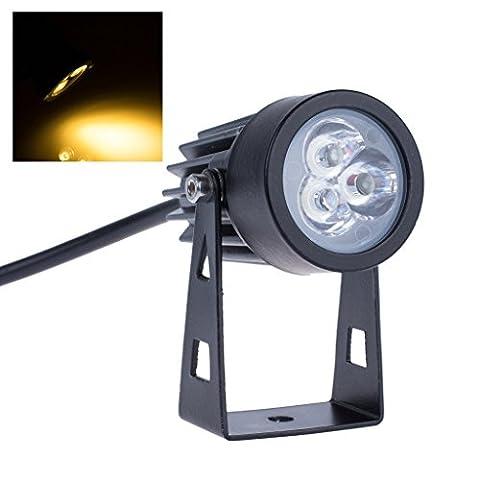 Bloomwin Pelouse LED, 4 X Mini Lampe Projecteur IP65 3x3W AC/DC12V Spot Orientable Éclairage Exterieur pour Paysage, Arbre, Voie, Jardin, Terrain, Pelouse Blanc Chaud