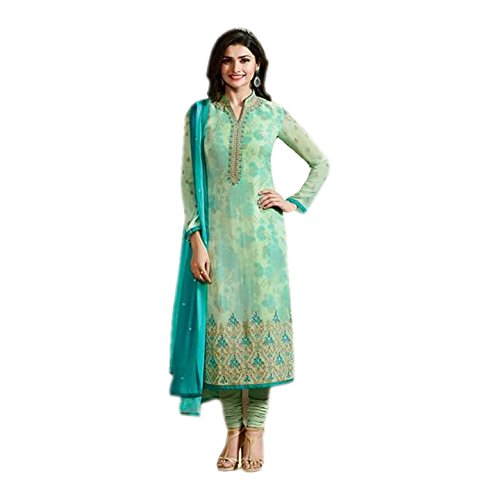 Ethnic Empire Women\'s Georgette Dress Material (EEAS_EA10732_Free Size_Light Green)