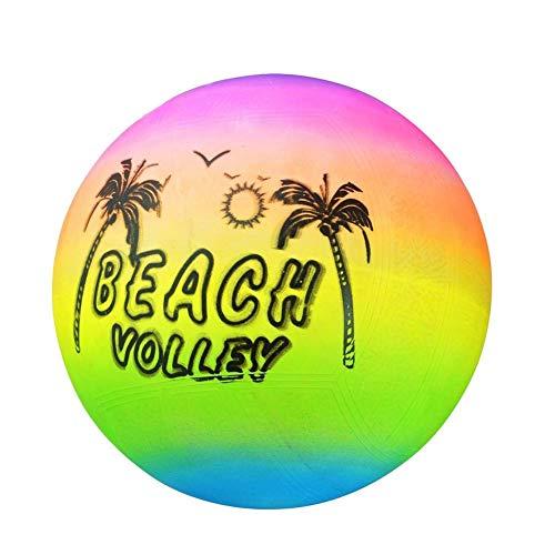Matedepreso Strand Volleyball Aufblasbarer Ball Pool Schwimmen Gummi Regenbogen Garten Spiel Volleyball Netz Kinder Spielzeug (20cmColor) - Farbe, 20cm