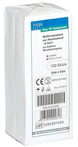 Höga OP Kompressen, aus unsterilem Verbandmull - 5 x 5 cm – 100 Stück, 2er-Pack.