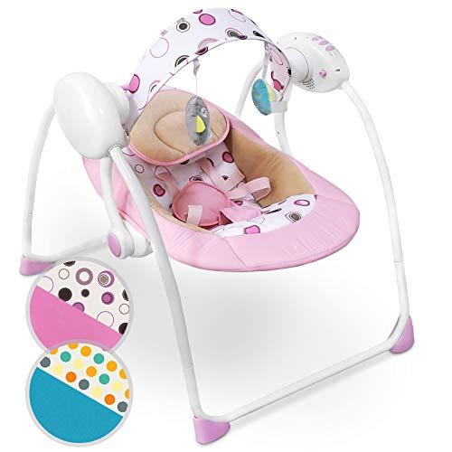 Babyschaukel mit Spielbogen und Musikfunktion | zusammenklappbar, mit 5-Punkt-Sicherheitsgurt und 8 Melodien, in verschiedenen Farben verfügbar | Babywippe Schaukelwippe Wippe (Rosa)