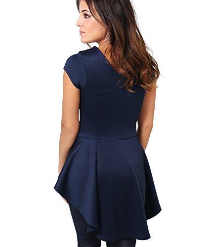 KRISP® Damen Modisches Schößchen Top Elegante Bluse Marineblau (6734)