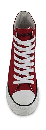 Cafènoir DG900 sneakers in canvas allacciate alte con zeppa interna 038 ROSSO