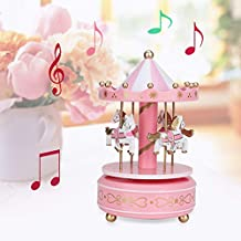 Carrousel Music Box, Merry-Go-Round Music Box Carousel Gift, Festival Decor voor meisjes voor kinderen(Pink)