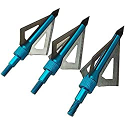 6Pcs Archery Caza Arrow Tips Punta de flecha Tipo de tornillo 3 cuchillas (azul)